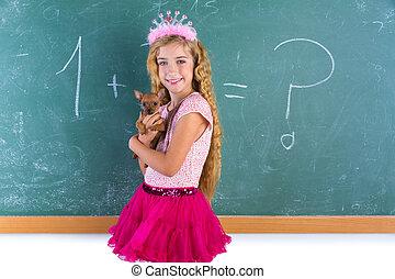 chihuahua, coccolare, biondo, scolara, cucciolo, principessa