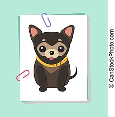 Chihuahua Dog Picture Poster Vector Illustration - Chihuahua...