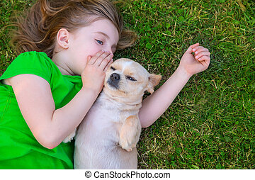 chihuahua, elle, blonds, portrait, girl, doggy, heureux