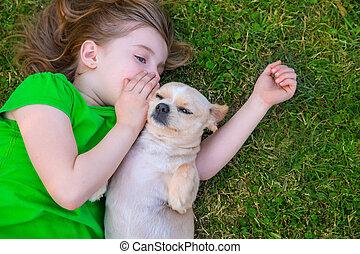 chihuahua, elle, blonds, portrait, girl, doggy, heureux