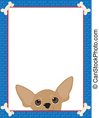 Chihuahua Frame - A frame or border featuring the face of a...