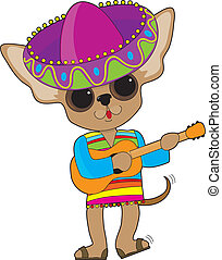 A happy Chihuahua with foot tapping and tail wagging, is playing the guitar while in show costume, complete with a large Mexican sombrero.