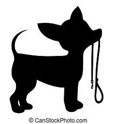 Chihuahua Leash - A cartoon black silhouette of a Chihuahua...