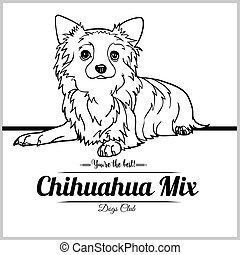 Chihuahua Mix Dog - vector illustration for t-shirt, logo and template badges in monochrome style