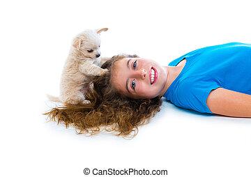 chihuahua, odprężony, pies, dziewczyna, szczeniak, leżący, koźlę