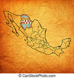 Chihuahua On Administration Map Of Mexico Emblem Of Chihuahua State