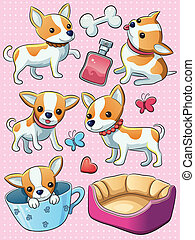 Chihuahua Puppy - cartoon illustration of cute cheerful...