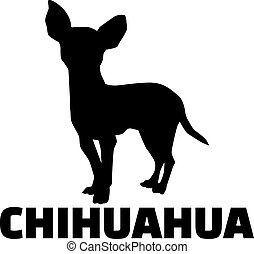 Chihuahua silhouette with breed name