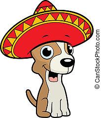 A happy cartoon Chihuahua with a sombrero.