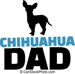chihuahua, vati, mit, hund, silhouette