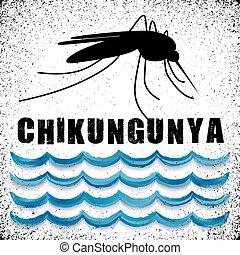 Chikungunya, standing water, mosquito, graphic illustration, grunge background. EPS8 compatible.