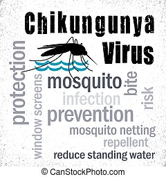 Chikungunya Virus, mosquito, prevention, protection, graphic illustration word cloud and collage, grunge backgrouind. EPS8 compatible.