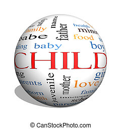 Child 3D sphere Word Cloud Concept