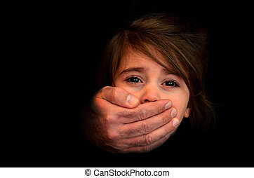Child abduction - Concept Photo - Strong male hands cover ...
