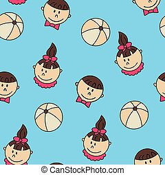 Child and baby cute seamless pattern.