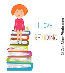 Child and books - love to read concept illustration