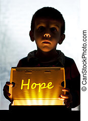 Child and box shine light. Call for help and hope. Help me