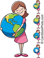 Child and Earth - Little girl hugging the Earth over white...