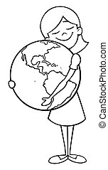 Child and Earth Line Art