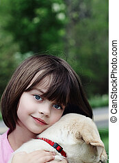 Child and Her Puppy