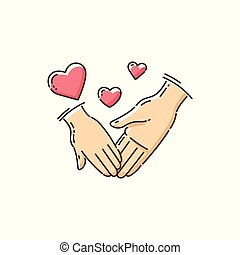 Child and parent love - charity icon of two hands holding and heart symbols