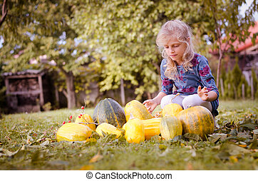 child and pumpkins in autumn garden
