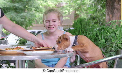 Child and puppy eating pizza in fast food restaurant outdoors