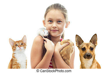 child and rodents and a cat and a dog