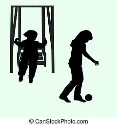 child and the child on a swing with