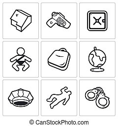 Child and weapons icons. Vector Illustration. - Vector...