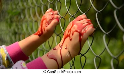 Child asks for help in blood. Violence against children....