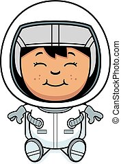 Child Astronaut Sitting