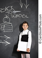 child at the blackboard