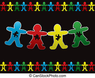 Paper doll children background design with symbolic autism puzzle pieces