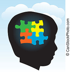 A silhouette of a child with symbolic autism puzzle pieces. EPS 10. Transparencies used.