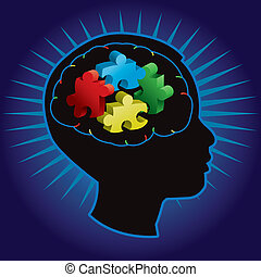 Black silhouette of profiled child with symbolic autism puzzle pieces