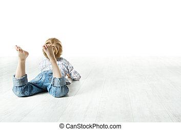 Child  back lying down on floor