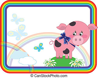 Child background with pigg, vector.