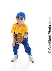 Child baseball softball player crouching with mitt