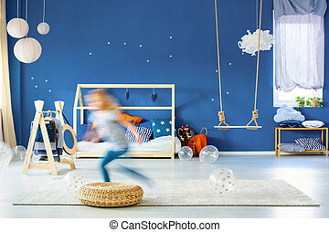 Child bedroom with blue wall