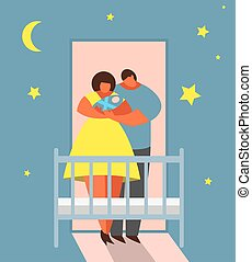 Parents mom and dad with newborn baby in the bedroom standing in front of cradle holding child. Bedtime lullaby, moon and stars on the background. Vector illustration.