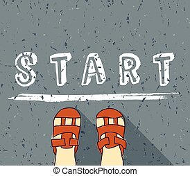 Child begin way standing on the start