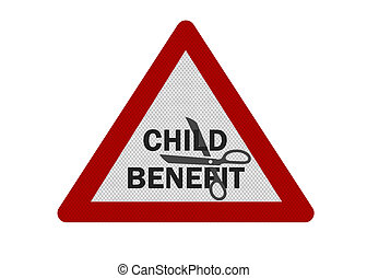 'Child Benefit Cuts' represented by a photo-realistic...