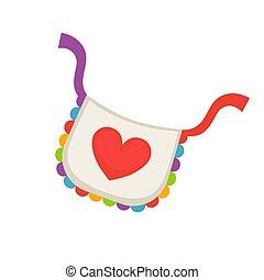 Child bib with heart - Bright colorful childish bib with a...