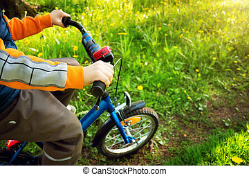child bike at the park with dandelions in pleasant sunny day