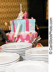 child birthday cake with white plates for serving