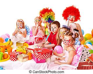 Child birthday party . - Children happy birthday party .