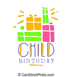 Child birthday promo sign. Childrens party colorful hand drawn vector Illustration