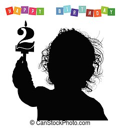 child birthday silhouette illustration