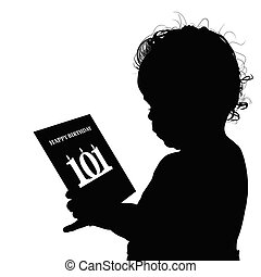 child birthday silhouette illustration with card